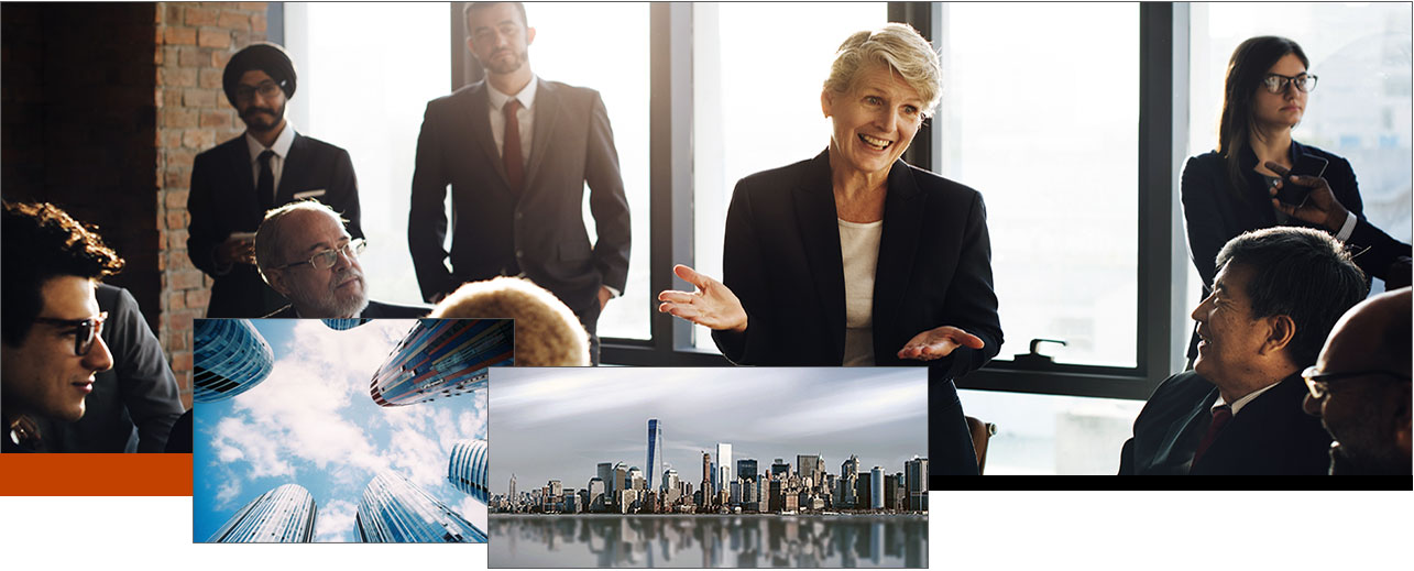 collage of business areas and business people